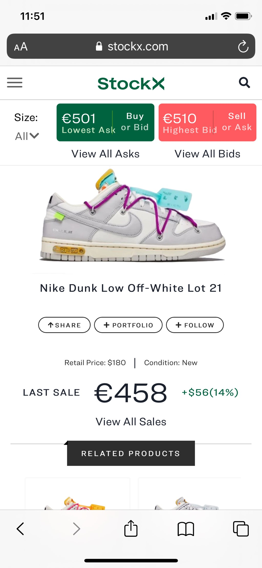 Nike Dunk Low Off-White Lot 21Off-White x Nike3